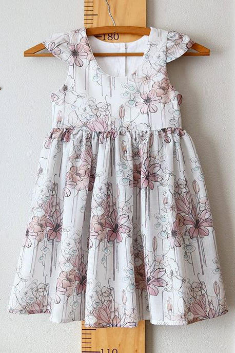 Custom Tea Party Dress with Flutter Sleeves